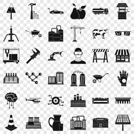 Market icons set, simple style Çizim