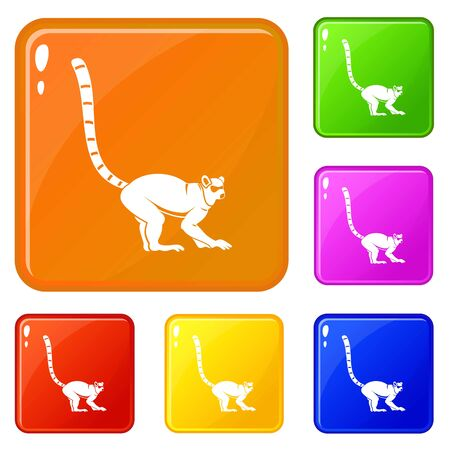 Lemur monkey icons set collection vector 6 color isolated on white background