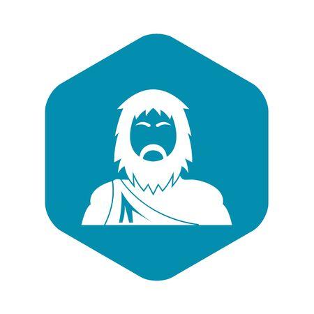 Neanderthal icon, simple style Иллюстрация