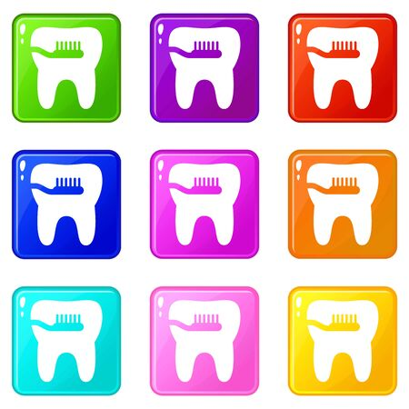 Cleaning tooth icons set 9 color collection Vector Illustration