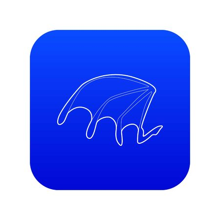 Bat wing icon blue vector