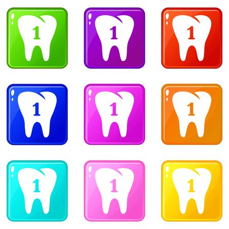 First tooth icons set 9 color collection Ilustrace