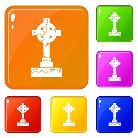 Irish celtic cross icons set vector color Standard-Bild - 128534070