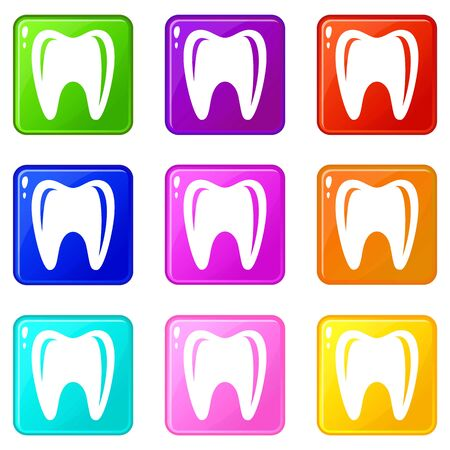Tooth in mouth icons set 9 color collection Ilustrace