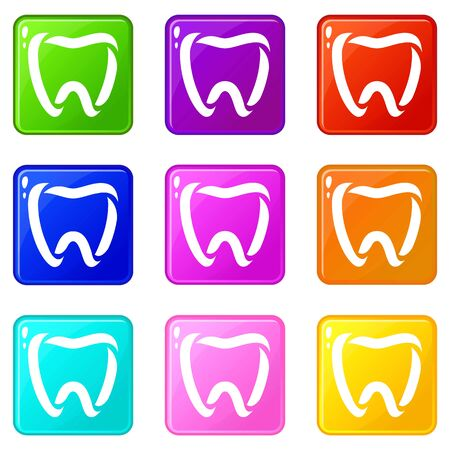 Stomatology icons set 9 color collection