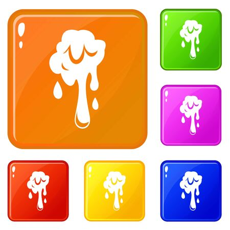 Dripping slime icons set vector color