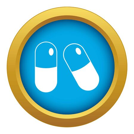 Pills icon blue vector isolated Ilustrace