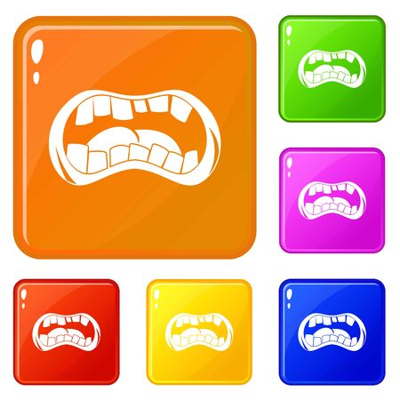 Zombie mouth icons set collection vector 6 color isolated on white background  イラスト・ベクター素材