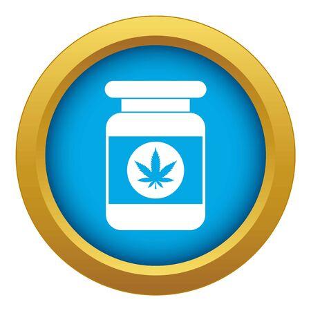 Jar of powder marijuana icon blue vector isolated on white background for any design
