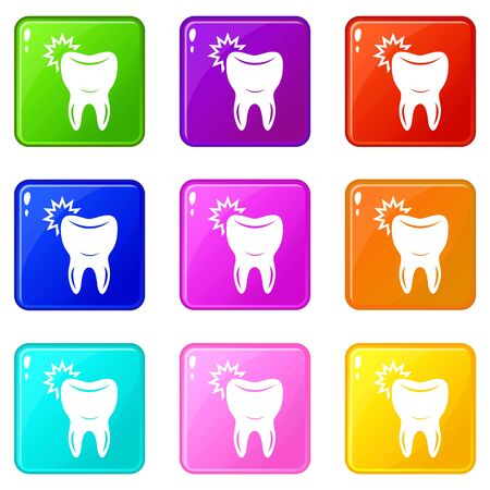Dentistry icons set 9 color collection