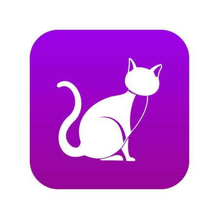 Black cat icon digital purple for any design isolated on white vector illustration