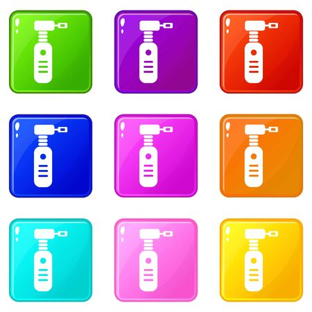 Extraction tool icons set 9 color collection Ilustrace
