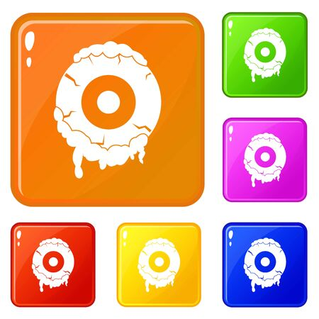 Scary eyeball icons set collection vector 6 color isolated on white background Archivio Fotografico - 130256083