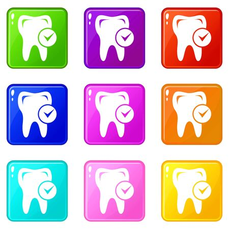 Cavity tooth icons set 9 color collection Ilustrace
