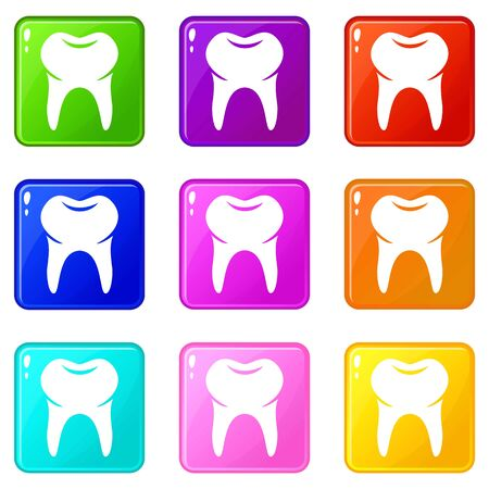 Wisdom tooth icons set 9 color collection