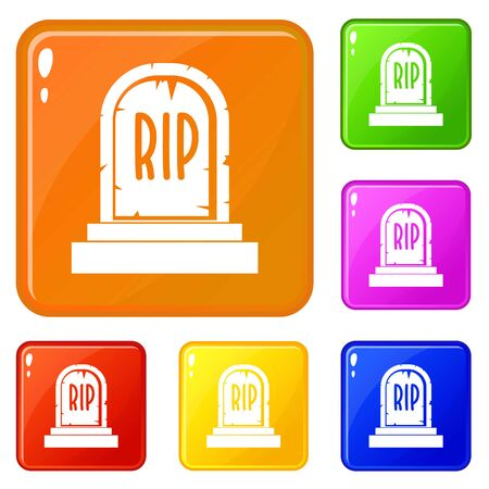 Gravestone with RIP text icons set collection vector 6 color isolated on white background