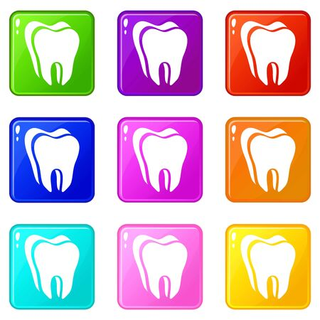 Canine tooth icons set 9 color collection