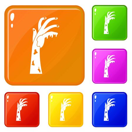 Zombie hand icons set collection vector 6 color isolated on white background Ilustrace