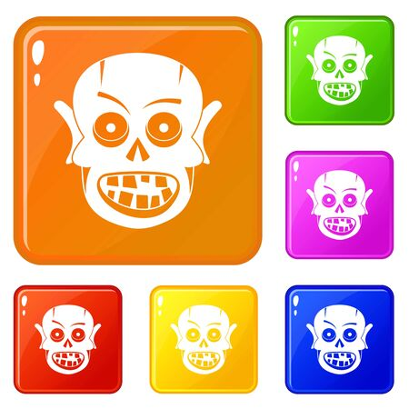 Living dead icons set collection vector 6 color isolated on white background Иллюстрация
