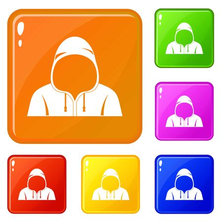 Hood icons set collection vector 6 color isolated on white background Çizim