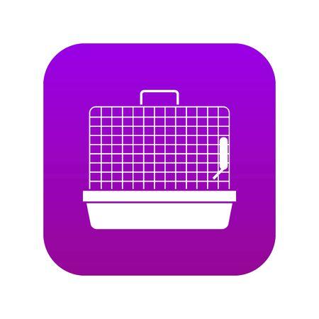 Cage for birds icon digital purple