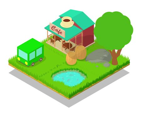 Village cafe concept banner. Isometric banner of village cafe vector concept for web, giftcard and postcard