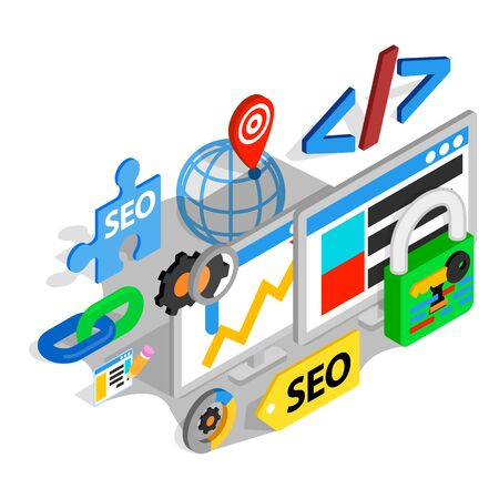 Search engine optimization concept banner. Isometric banner of search engine optimization vector concept for web, giftcard and postcard