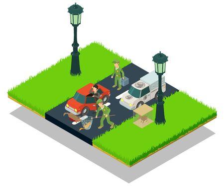 Dierlijke crash concept banner. Isometrische banner van dierlijk crash vectorconcept voor web, cadeaubon en briefkaart