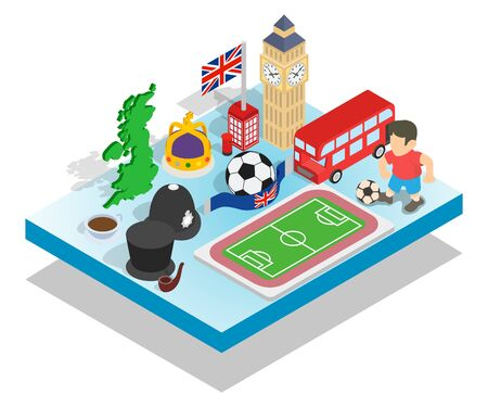 England concept banner. Isometric banner of england vector concept for web, giftcard and postcard