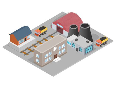 Manufactory concept banner. Isometric banner of manufactory vector concept for web, giftcard and postcard