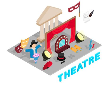 Theatre concept banner, isometric style