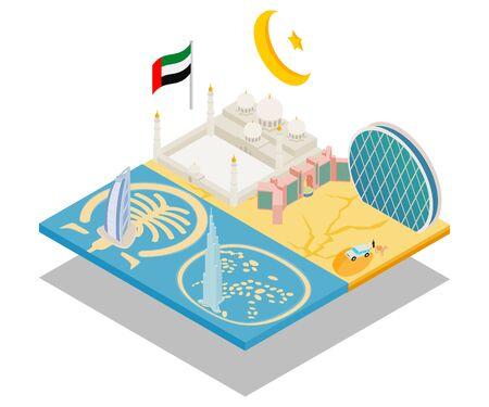 Dubai concept banner. Isometric banner of dubai vector concept for web, giftcard and postcard Çizim
