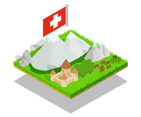 Swiss concept banner, isometric style