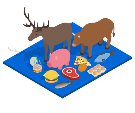 Meat diet concept banner. Isometric banner of meat diet vector concept for web, giftcard and postcard Archivio Fotografico - 130256199
