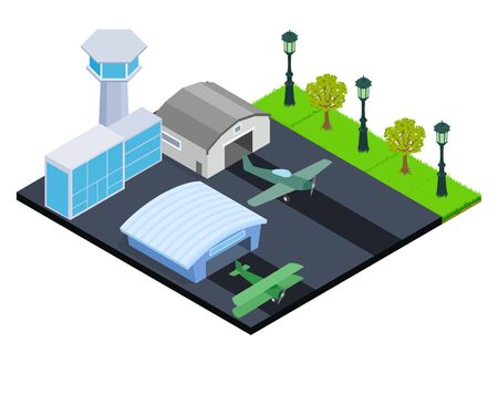 Small airport concept banner. Isometric banner of small airport vector concept for web, giftcard and postcard Illustration