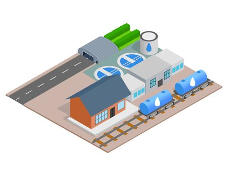 Water delivery concept banner. Isometric banner of water delivery vector concept for web, giftcard and postcard