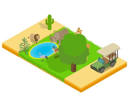 Safe safari concept banner, isometric style