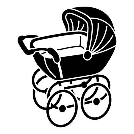 Retro stroller icon. Simple illustration of retro stroller vector icon for web design isolated on white background Ilustración de vector