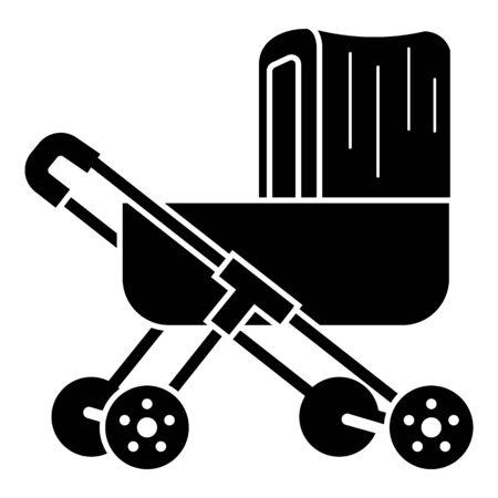 Plastic pram icon. Simple illustration of plastic pram vector icon for web design isolated on white background