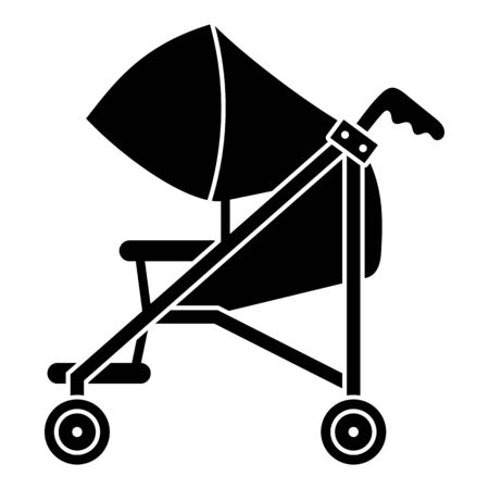 Mom baby pram icon, simple style