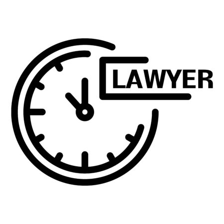Wall clock lawyer icon. Outline wall clock lawyer vector icon for web design isolated on white background 向量圖像