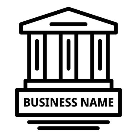 Business law building icon, outline style Ilustração
