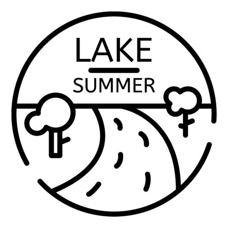 Summer lake, outline style