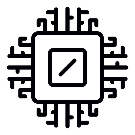 Computer processor icon, outline style
