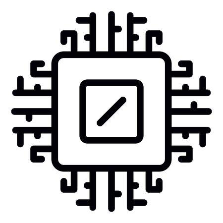 Icône de processeur d'ordinateur, style de contour