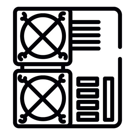 Mining farm cooler icon. Outline mining farm cooler vector icon for web design isolated on white background