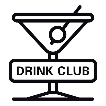 Drink club icon, outline style