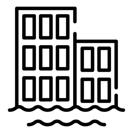 City flood icon, outline style