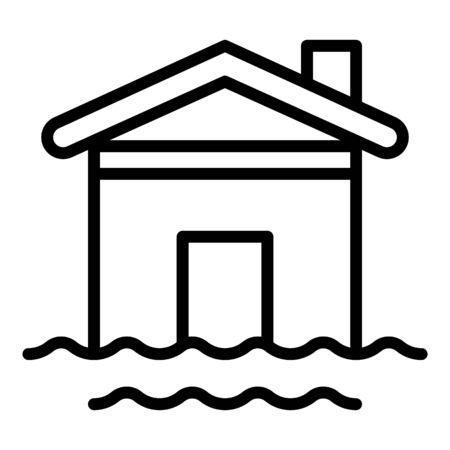 House water flood icon, outline style Illustration