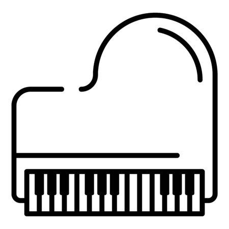 Retro grand piano icon. Outline retro grand piano vector icon for web design isolated on white background